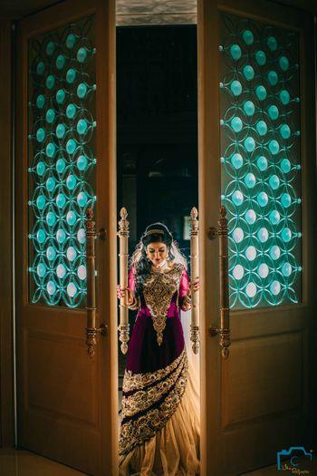 Bride Entering Wedding Wearing Purple Lehenga