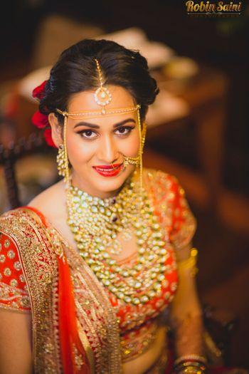 Maharashtrian Bride Wearing Kundan Polki Jewellery