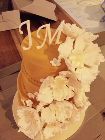 3 Tier Wedding Cake with Monograms and Floral Decor