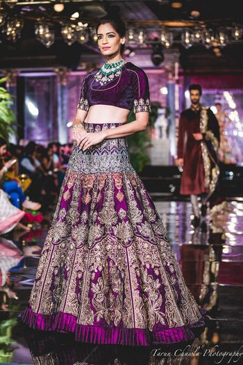 Purple velvet lehenga by Manish Malhotra 2016 bridal
