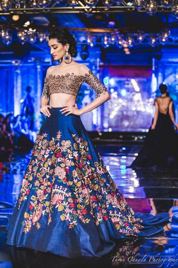 Photo of Blue Lehenga with Floral Embroidery and Thread work