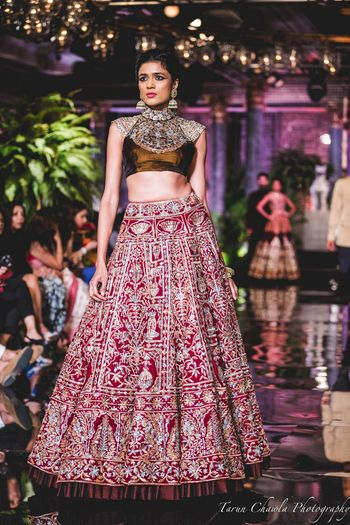 Photo of Maroon Lehenga with Silver Embroidery and Thread Work