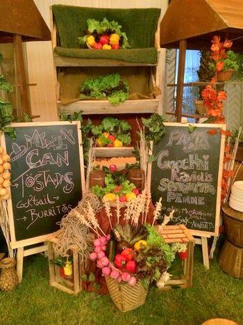 unique market setup with florals and fruit