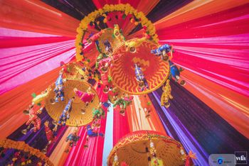 Hanging Mehendi Decor with Pompoms and Puppets