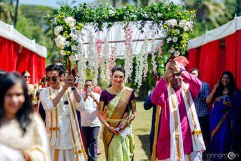 South Indian Bridal Entry under a phoolon ki chaadar.