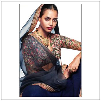 Indigo Modern Bridal Lehenga wore with Heritage Jewellery.