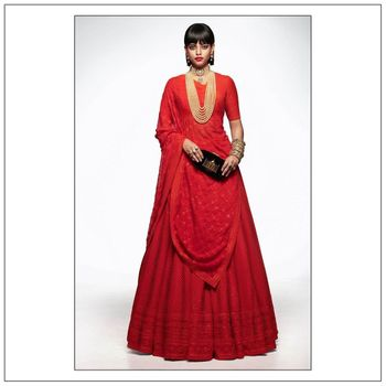 Photo of Beautiful Blood Red Heritage Bridal Lehenga.