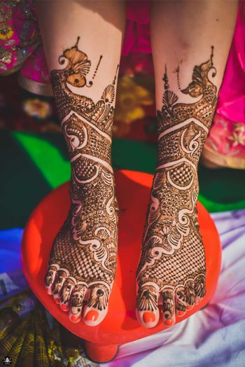 Traditional Feet Mehendi Design with Ambis