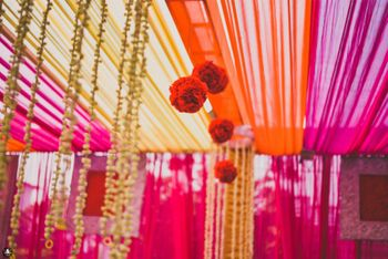 Hanging Floral Arrangement with Orange and Pink Decor