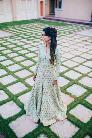 Photo of Mint Anarkali with Pink and Gold Motifs
