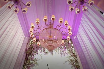 Pink Tent Decor with Hanging Chandeliers