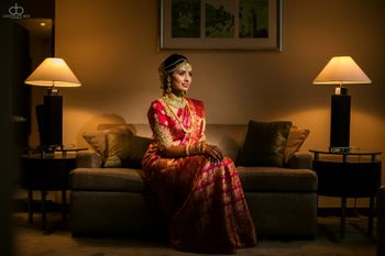 South Indian bridal portrait with bride in hotel room