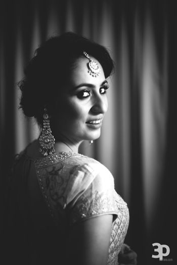 Photo of Black and White Bridal Reception Looking Back Portrait