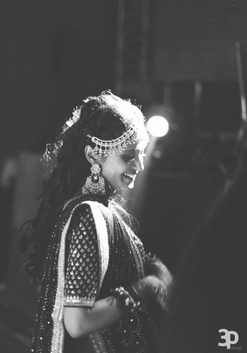 Black and White Portrait of Bride with Mathapatti