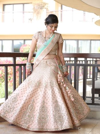 Light Pink and Aqua Lehenga with Silver Work