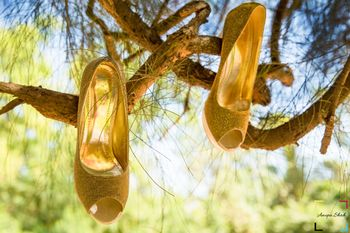 Bridal Shoes Hanging on Tree Branches