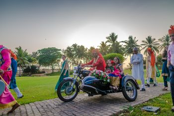 Groom Entering with Kids on a Vintage Motorcycle