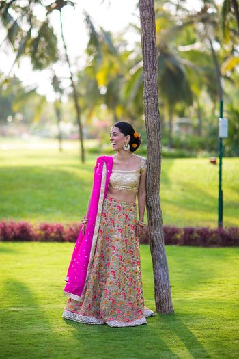 Thread Work Gold and Pink Sister of the Bride Lehenga