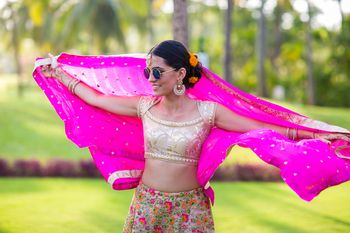 Sister of the Bride Posing in Pink and Gold Lehenga