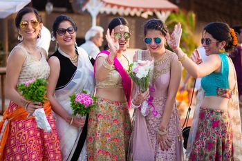 Destination Wedding Bridesmaids Wearing Sunglasses