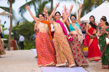 Bridesmaids Posing with Hands in the Air