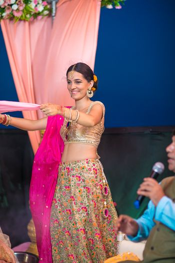 Dull Gold Sister of the Bride Lehenga with Thread Work