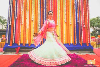 Bright Pink and White Fish Cut Light Lehenga