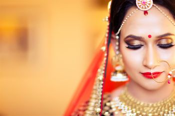Brown Bridal Eye Makeup Paired with Red Lips