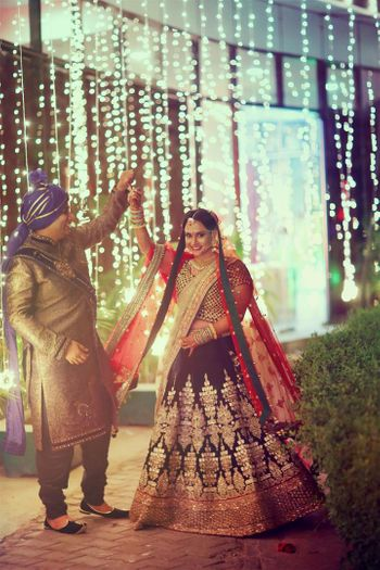 Blue and Red Bridal Lehenga with Gold Work
