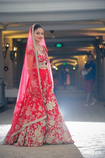 Strawberry Red Bridal Lehenga with Silver Embroidery
