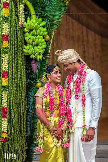 South Indian Wedding Decor with Garlands and Bananas