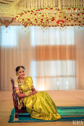 South Indian Bride Wearing Light Green Kanjivaram