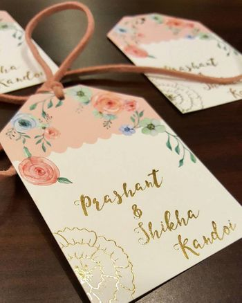 Light Peach and White Floral Name Tag