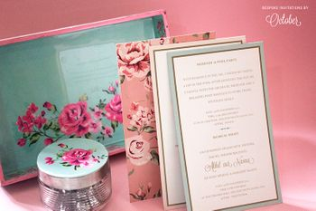 Photo of Light Pink and Mint Vintage Floral Card and Jar