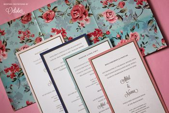 Light Pink and Grey Floral Simple Invitation Cards