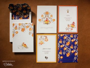 Simple Modern Floral Wedding Card in Blue and Orange