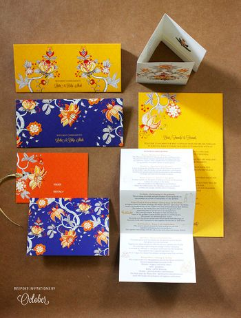 Modern Floral Cards in Blue Yellow and Orange