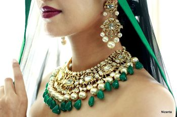 Photo of Emerald jewellery with polki necklace