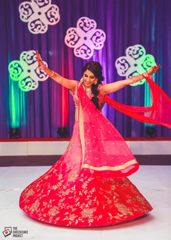 Photo of Pink and Red Lehenga with Floral Embroidery for Sangeet