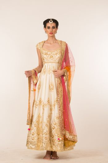 Off White and Gold Anarkali with Colourful Dupatta