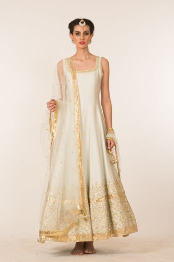White and Gold Light Anarkali with Thread Work