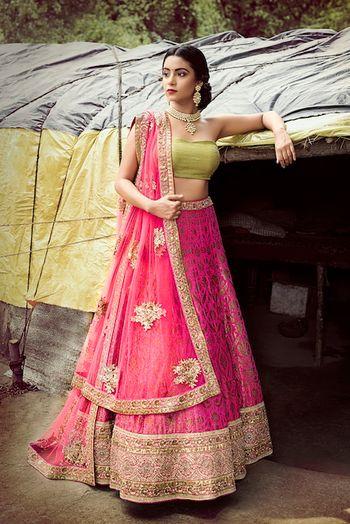 Green and Pink Light Lehenga in Benrasi Fabric