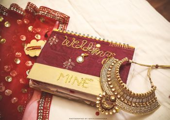 Photo of Personalised Maroon Bridal Journal with Trousseau