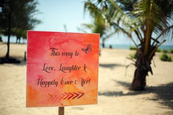 Personalised Wedding Message Board Decor at Beach