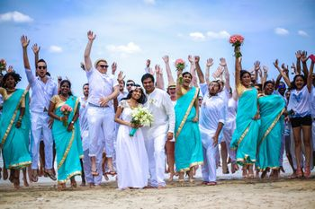Blue and White Theme Beach Wedding Photo with Guests