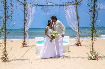 Rustic Beach Wedding Mandap with Simple Florals