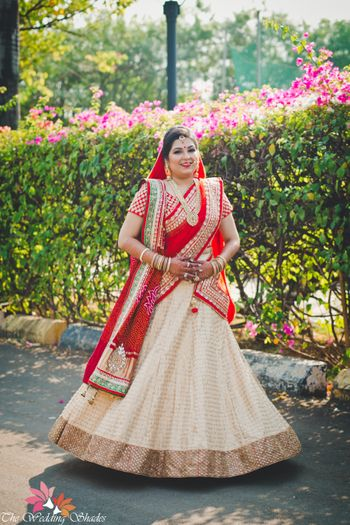White Red and Gold Light Bridal Lehenga with Sequins