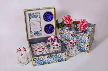 Blue and White Wedding Boxes with Florals and Bird Cage