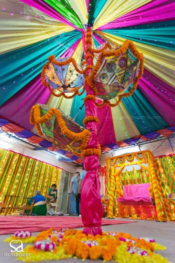 Colourful Tent Decor with Umbrellas and Genda Phool