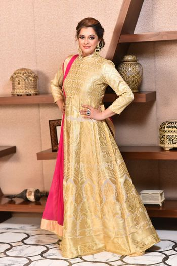 Gold and White High Neck Anarkali with Pink Dupatta